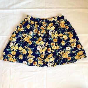 Forever 21 Floral Button Front Skater Skirt
